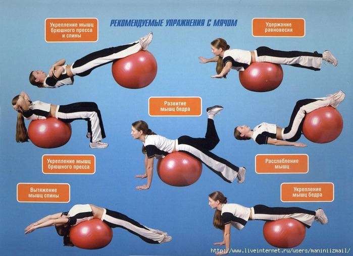 Упражнения для фитбола