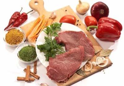 сырое мясо и специи на доске