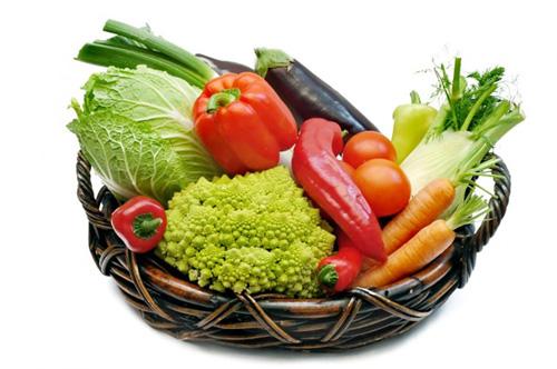 корзина с овощами на белом фоне