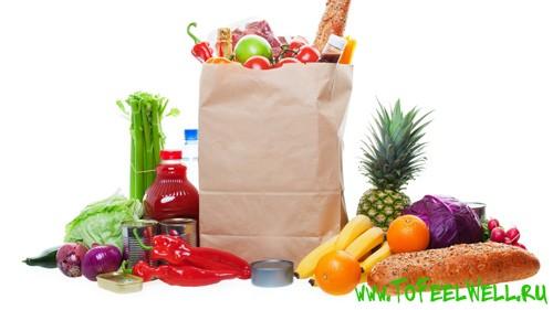 фрукты и овощи в пакете