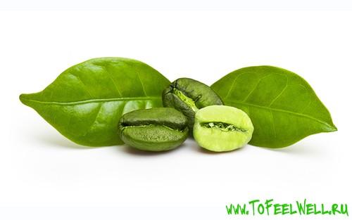 зеленые зерна кофе на белом фоне