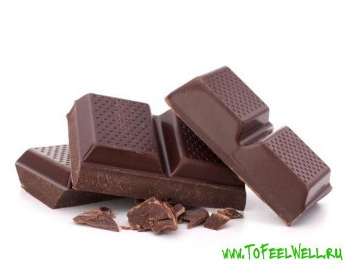 кусочки шоколада на белом фоне