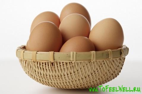 куриные яйца в корзинке на белом фоне