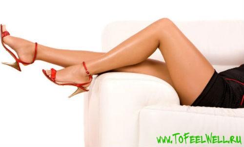 женские ноги в красных туфлях на белом фоне